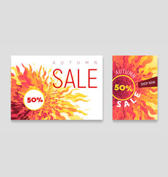 Autumn sale flyers set with abstract fall vector