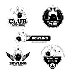 Bowling labels emblems and badges set vector image vector image