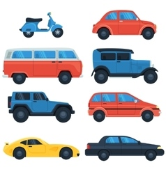 Flat car icon set vector image