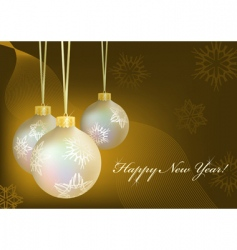 golden Christmas balls with snowflakes vector image