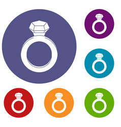 ring with gemstone icons set vector image