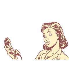 surprised woman with phone isolated background vector image