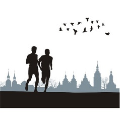 Two runners on the horizon vector image vector image