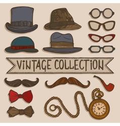 Vintage hats and glasses set vector image