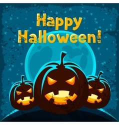 Happy halloween greeting card with angry pumpkins vector image