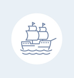 sailing vessel ship line icon isolated over white vector image vector image