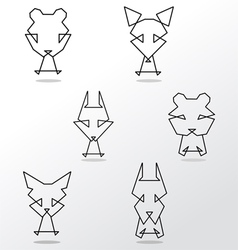 abstract set of animals vector image vector image