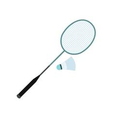 Badminton racket and shuttlecock flat icon vector image