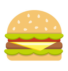 hamburger flat icon food and drink fast food vector image