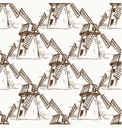 hand drawn mill seamless pattern vector image