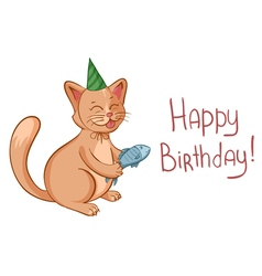 Happy birthday card with cute cartoon cat in hat vector image