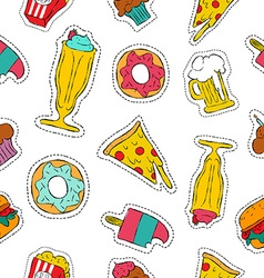 90s retro fast food patch icon seamless pattern vector image