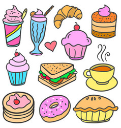 doodle of food various collection vector image