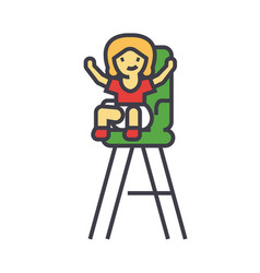 kid in the child chair concept line icon vector image vector image