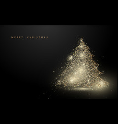 low polygon gold christmas tree wireframe mesh vector image vector image