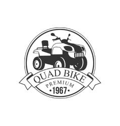 Quad bike premium label design black and white vector