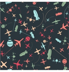 seamless pattern Airplanes sky set vector image vector image