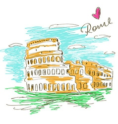 Sketch of Colosseum vector image