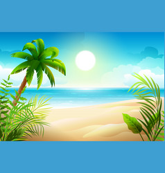 sunny day on tropical sandy beach palm trees and vector image vector image