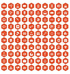 100 portfolio icons hexagon orange vector