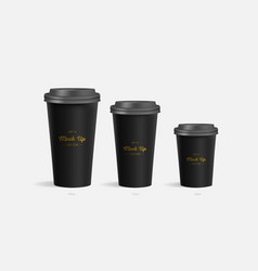 3 black coffee cups mockup on grey background vector