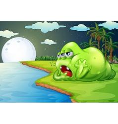 A sleepy monster at the riverside vector