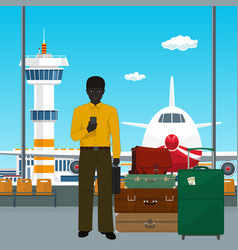 african american man waiting for boarding a plane vector image