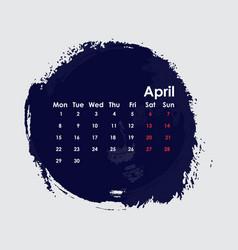 April 2019 calendar templatestarts from monday vector