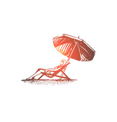 beach girl summer umbrella sunbathe concept vector image