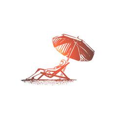 Beach girl summer umbrella sunbathe concept vector