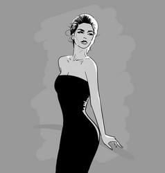 beautiful woman in black dress with mysteriously vector image