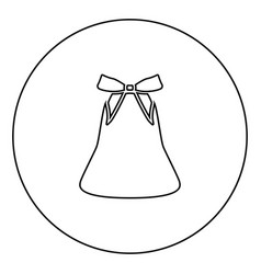 bell with bow ribbon black icon outline in circle vector image