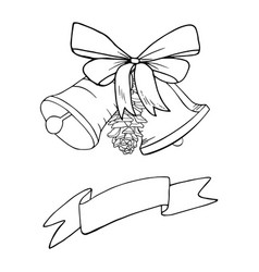 bells christmas decoration sketch vector image