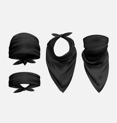 Black bandana realistic set isolated vector