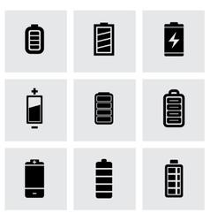 Black batery icon set vector