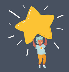 Boy holding a big star symbol vector