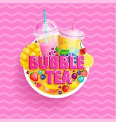 bubble tea banner bubbletea with fruits berries vector image
