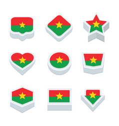 Burkina faso flags icons and button set nine vector