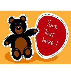 Cartoon black bear with sign vector image