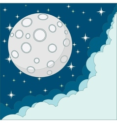 Cartoon moon with space for text in the clouds vector