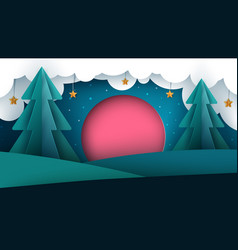 cartoon paper landscape sun fir cloud star vector image