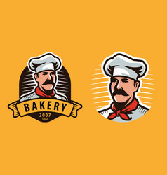 chef symbol or label food concept vector image