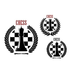 Chess icons with black queens vector