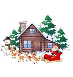 Christmas scene with santa on sleigh vector
