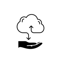 cloud services black icon sign on isolated vector image