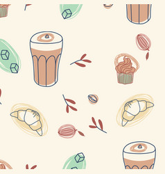 Coffee cupcake and croissant seamless pattern vector
