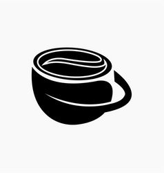 coffee leaf cup logo design template black vector image