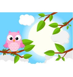 Colorful tree with cute owl cartoon bird in sunny vector
