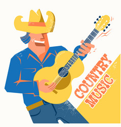 Country music concert poster with singer man in vector