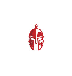Creative scratched red warrior helmet logo vector